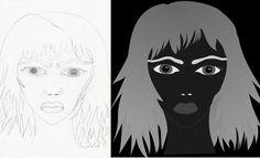 angry girl; Sketch and graphic- wütendes Mädchen: Skizze und fertige Grafik