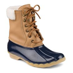 Fun and Playful Boots By Sperry,Leather-Rubber Upper,Shearling Lining,Cozy And Weather Ready,Lace Up Closure,Rust Proof Eyelets,Rubber Outsole With Wave Siping For Traction On Both Wet And Dry Surfaces,STS91527