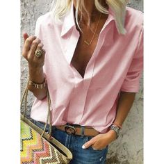 Long sleeves shirt collar solid casual shirts tops - t-shirts & blouses white so Loose Shirts, Casual T Shirts, Casual Tops, Long Sleeve Shirts, Half Sleeves, Types Of Sleeves, Plus Size Tops, Plus Size Blouses, Shirt Outfit