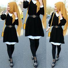 💛 Triko - www. Hijab Style Dress, Modest Fashion Hijab, Modern Hijab Fashion, Muslim Women Fashion, Hijab Fashion Inspiration, Islamic Fashion, Mode Inspiration, Fashion Outfits, Stylish Hijab