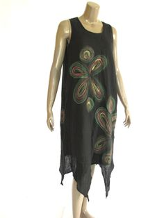 Black Gorgeous hand painted Dress with Liner DR188 by NaniFashion, $74.99
