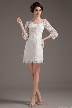 long sleeve scoop neck lace short wedding dress for how