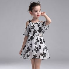 >> Click to Buy << 4Y-12Y Girls Chiffon Dresses Children Summer Casual Floral Short Princess Dress Kids Girl Clothing robe pour fille de 12 ans #Affiliate