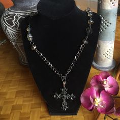 Gothic style cross black beaded necklace Beautiful black gothic cross necklace. Features gray beads and rhinestones as well as a large black jeweled cross. Jewelry Necklaces