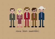 OMG I must buy and stitch ASAP. Pixel People from Anchorman: The Legend of Ron Burgundy by weelittlestitches, Etsy Cross Stitching, Cross Stitch Embroidery, Cross Stitch Patterns, Stay Classy San Diego, Yarn Trees, Ron Burgundy, All The Colors, Free Pattern, Crafty
