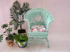 Dollhouse miniature Wicker Chair in Turquoise by MiniAbuela