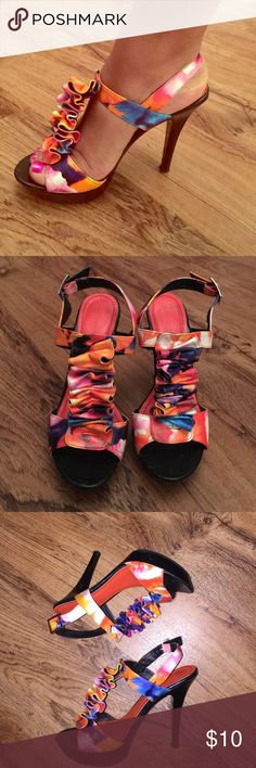 Scrunchy ribbon multi colored heels Oranges, pink, purple, white and teal. Shiny Black platform and heel. Gently used. Great price. Bertinni Shoes Heels