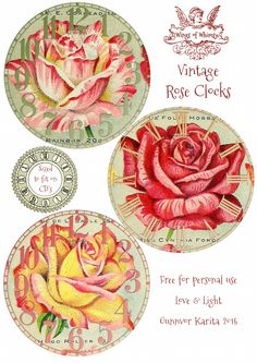 Wings of Whimsy: Vintage Rose Clocks No 1 of 4 #vintage #ephemera #rose #clock