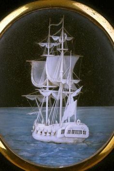 English Carved Ivory Micro Miniature of a Frigate (1700 to 1900 English).