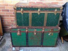 Industrial Retro Vintage Shipping Trunk Coffee Table Storage | eBay