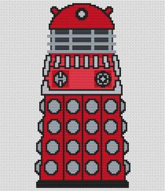Red Dalek Cross Stitch Kit - Complete Charted Kit - Doctor Who Cross Stitch Kit on Etsy, £8.49