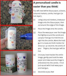 Homemade gifts the kids can do Homemade Candles, Diy Candles, Homemade Gifts, Decorating Candles, Candle Decorations, Custom Candles, Craft Gifts, Diy Gifts, Crafts To Do