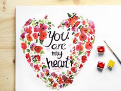 Heart - Watercolour Floral Frame by Halftone Studio on Creative Market
