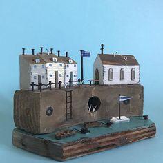 Chapel Harbour #lorainespick #shabbydaisies #shabbychic #chapel #church#harbour##driftwoodhouses #driftwoodart #rusticart #rustic #woodenhouse #rowingboats