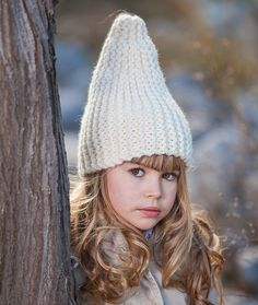 KNITTING PATTERN White Gnome Hat, pattern knitted hat in garter stitch, childrens beanie gnome, knitting pattern pixie hat - all sizes by LecrochetArt