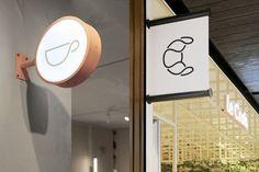 Le Crois on Behance Signage Design, Logo Design, Cafe Signage, Cafe Shop Design, Coffee Cup Design, Wall Logo, Exterior Signage, Identity, Bakery Logo