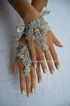 unique. silver. smoked unique Wedding Gloves, lace gloves,Fingerless hand sewing Gloves, wedding gown, off, cuff wedding bride, gloves