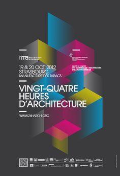 Poster for Vingt-Quatre heures d'architecture, by AA13 http://www.aa13.fr/design-graphique/vingt-quatre-heures-darchitecture-les-produits-de-lepicerie-22103