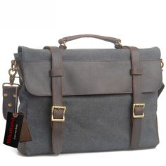 Whatland Cotton Canvas Leather Cross Body Messenger Shoulder Handbag Briefcase, Grey ** Continue to the product at the image link.