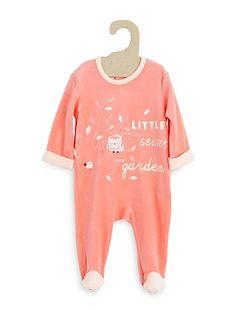 Pyjama velours                                                                                                                                                                                                                                                     orange Bébé fille