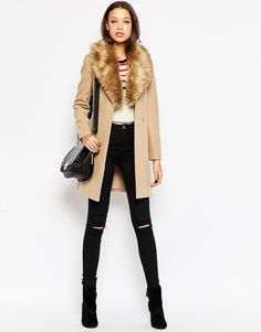 Image 4 ofNew Look Tall Belted Coat With Faux Fur Collar