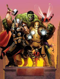 The original Avengers lineup, by Salvador Larroca
