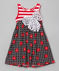 Another great find on #zulily! Vanilla Crème Red & Black Floral Babydoll Dress - Toddler & Girls by Vanilla Crème #zulilyfinds