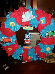 Thomas the Train wreath I made for my son. :)
