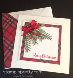 Pretty Pines Thinlits Dies holiday & Christmas card idea.  Mary Fish, Stampin' Up! Demonstrator.  1000+ StampinUp & SUO card ideas.  Read more http://stampinpretty.com/2016/09/simple-pretty-pines-holiday-card-idea.html
