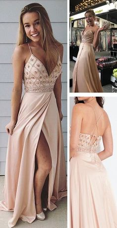 Straps V Neck Beads Long Prom Dress with Side Slit