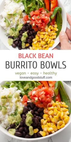 These easy black bean burrito bowls are a healthy vegan meal that you can have on the table in under 30 minutes - avocado salsa verde included! These healthy plant based bowls also make a great meal prep for lunches too! #burritobowl #vegetarianbowls #veg