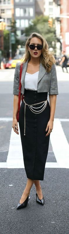Trend Memo Day 4: Checkmate // Checked cropped jacket, black midi skirt with buttons, white camisole top, gold and pearl belt, red shoulder bag, black slingback heels {Sara Battaglia, Tibi, trend memo, fashion week}