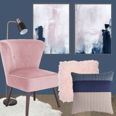 Navy Blue and Pink Bedroom Inspiration. Pink and blue bedroom inspiration moodboard. Blue and pink is such a great colour combination. If you want to redecorate your bedroom, use this navy blue and pink bedroom inspiration to help you make a decision! Blue And Pink Bedroom, Pink Bedroom Walls, Blush Pink Bedroom, Navy Blue Bedrooms, Pink Bedroom Decor, Pink Bedding, Pink Room, Blue Rooms, Bedroom Vintage