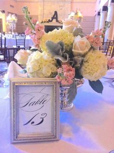 Silver pedestal filled with ivory hydrangea, peach stock and  blush roses