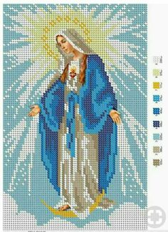 13 Virgins to do in cross stitch ★★★★ ☆ 471 Opinions - Patterns . - 13 Virgins to do in cross stitch ★★★★ ☆ 471 Opinions – Patterns and Work - Cross Stitching, Cross Stitch Embroidery, Embroidery Patterns, Hand Embroidery, Cross Stitch Charts, Cross Stitch Designs, Cross Stitch Patterns, Religious Cross, Cross Stitch Flowers