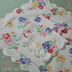 Vintage Porthault, Paris 3 pc Linen Breakfast Set from mairemcleod on Ruby Lane