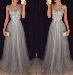 Sexy A-Line New Arrival Long Beading Gray Prom Dresses,Long Evening Dresses,Prom Dresses