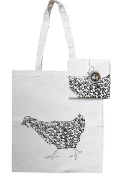 Pretty ScreenPrinted Running Chicken Tote Bag by BatAndWolf