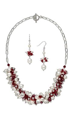 Jewelry Design - Single-Strand Necklace and Earring Set with Swarovski Crystal Beads, Cultured Freshwater Pearls and Sterling Silver Bead Caps and Chain - Fire Mountain Gems and Beads