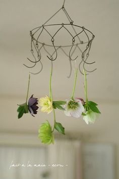 a clever way to repurpose those wire hangers. This would be great for drying herbs or flowers! Wire Hanger Crafts, Wire Crafts, Diy And Crafts, Arts And Crafts, Wire Coat Hangers, Craft Projects, Projects To Try, Idee Diy, Chicken Wire