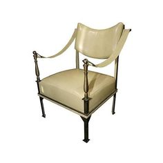 Bronze and Leather Armchair - Andre Arbus