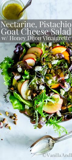 Sweet, crunchy, and fresh with loads of texture! Use the freshest farmers market summer greens in this simple Nectarine, Pistachio and Goat Cheese Salad with Honey Dijon Vinaigrette. Vegetarian + Gluten Free