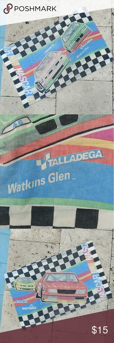 """Nascar vintage pillowcase 🤙 Talladega NIGHTS!!! Get it ....cause.... issa pillowcase 😁 Most likely from the late 90s! Super dope Nascar pillowcase in great vintage condition! It has the most beautiful fade to it and is almost pastel, definitely looks retro 🏁 Inside does have someone's name written in market on the inside (see above pic). Still way cool 🤘💧! Measurements below  Length: 19"""", top to bottom  Width: 29"""" across  Measurements taken flat  All items come washed and ready to wear…"""