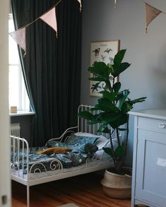 my scandinavian home: A Lovely Boys Bedroom in Greens in a Cool, Calm Swedish Family Home