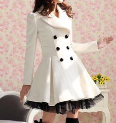 Elegant Gothic Double Breasted Gauze Trimming Coat - I love this cute coat! I found an off white coat, similar to this at a second hand store, added tulle at the bottom it turned out fabulous! Beauty And Fashion, Trend Fashion, Womens Fashion, Fashion Coat, Winter Fashion, Fashion Clothes, Style Fashion, Fashion Black, Asian Fashion