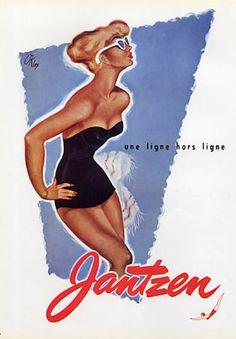 Illustration by Pierre Okley, 1955, Vintage Jantzen Swimwear Advertisement.