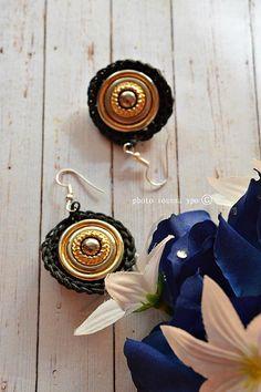 essentials crochet gold button earrings handmade christmas