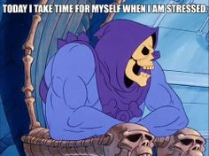 Today I take time for myself when I am stressed . Skeletor Is Love Skeletor Quotes, Sarcastic Quotes Witty, Inspirational Words Of Wisdom, Funny Memes, Jokes, My Spirit Animal, Funny Cute, Funny Photos, Man