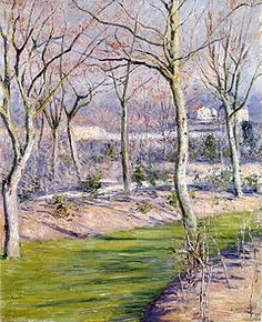 """Le Jardin du Petit Gennevilliers en Hiver""  --  1894  --  Gustave Caillebotte  --  French  --  Oil on canvas  --  Private Collection"
