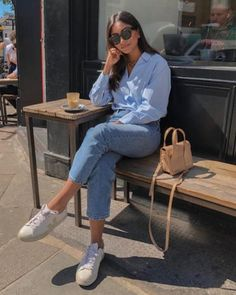 Hannah from Cocobeautea wearing our cotton poplin shirt. Mode Outfits, Fashion Outfits, Womens Fashion, Korean Women Fashion, Classy Outfits, Casual Outfits, Look Retro, Elegantes Outfit, Looks Chic